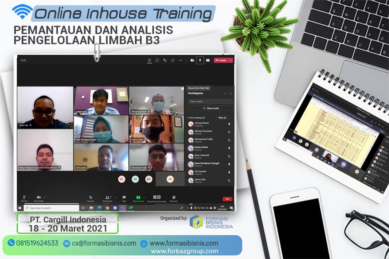 Online Training Pemantauan dan Analisis Pengelolaan Limbah B3 BNSP PT. Cargill Indonesia 18 - 20 Maret 2021