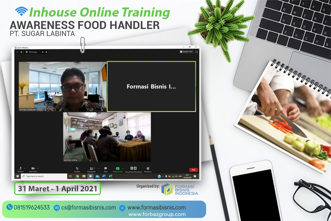 Online Training Awareness Food Handler PT Sugar Labinta 31 Maret - 1 April 2021