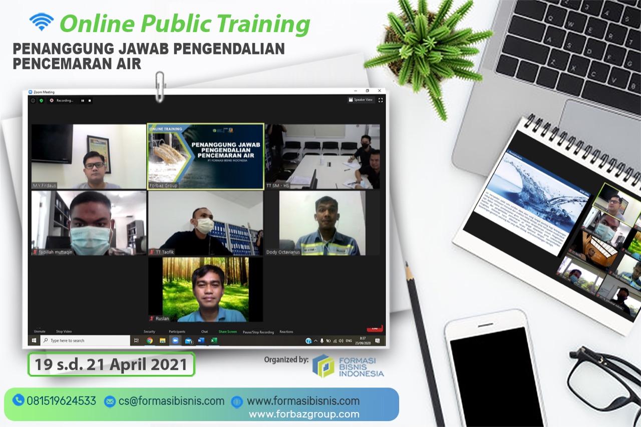 Online Training Penanggung Jawab Pengendalian Pencemaran Air BNSP, 19 - 21 April 2021