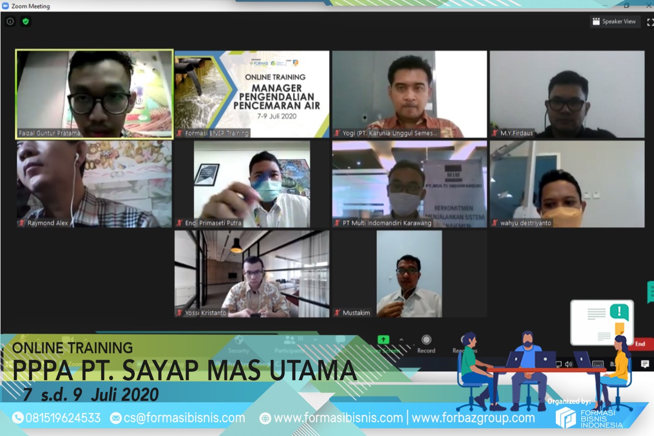 Online Training Pengendalian Pencemaran Air Level Manager Sayap Mas Utama 7-9 Juli 2020