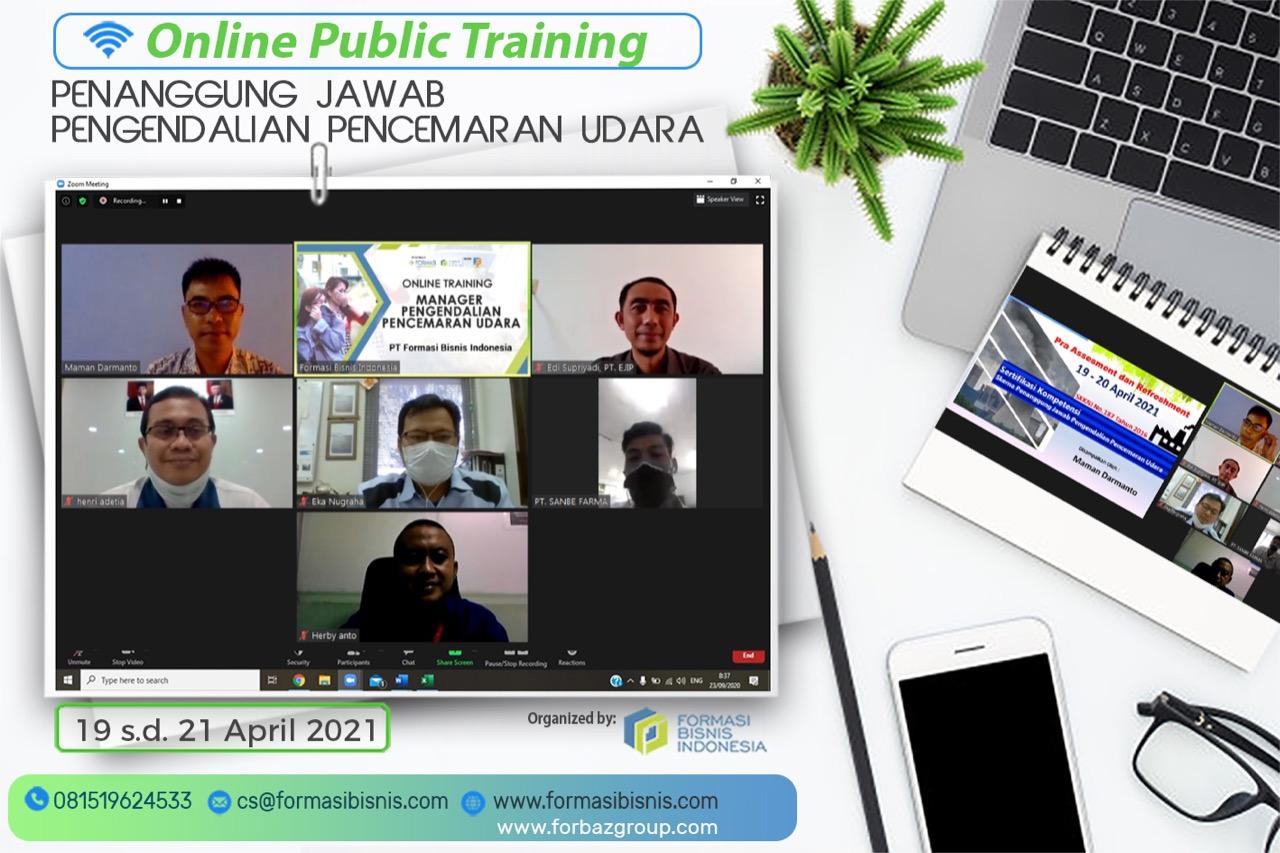 Online Training Penanggung Jawab Pengendalian Pencemaran Udara BNSP, 19 -21 April 2021
