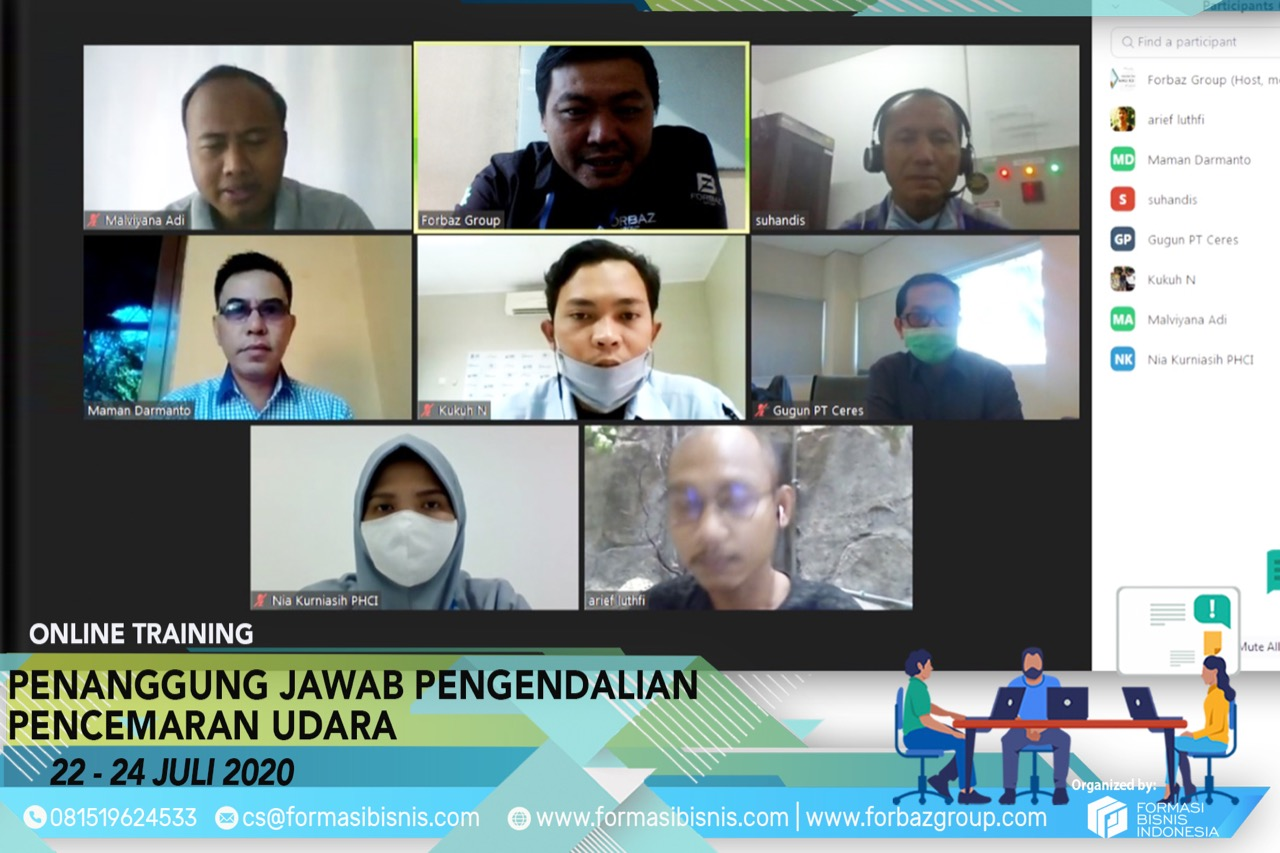 Online Training Pengendalian Pencemaran Udara Level Manager 22-24 Juli 2020