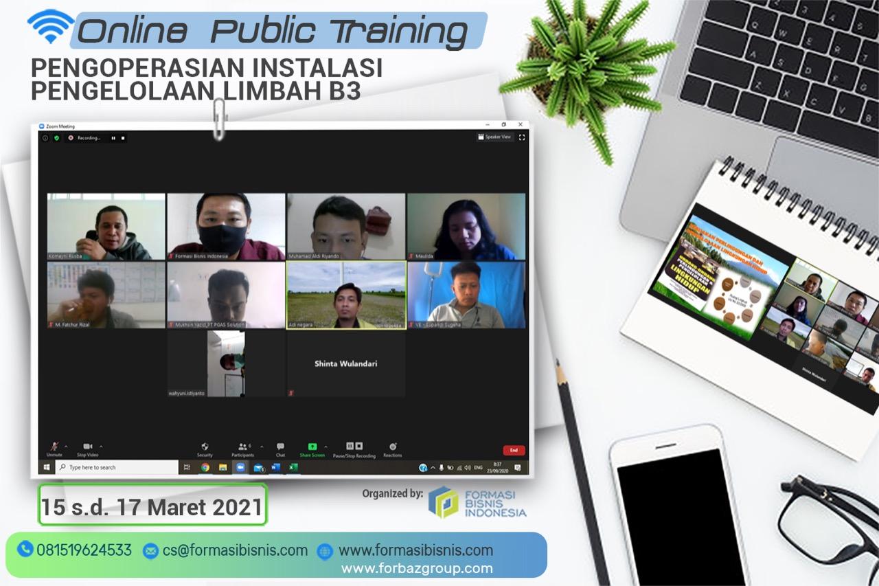 Online Public Training Pengoperasian Instalasi Pengelolaan Limbah B3 BNSP 15 - 17 Maret 2021