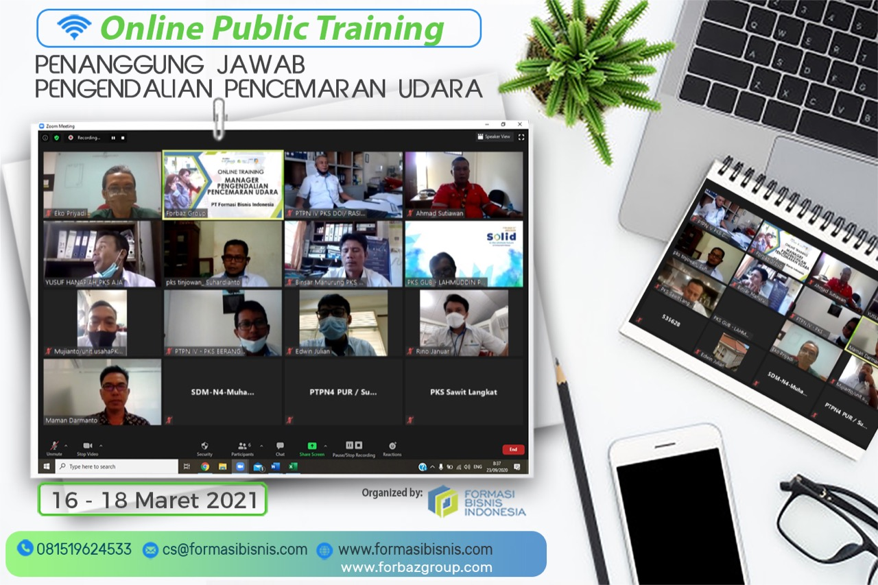 Online Public Training PENANGGUNG JAWAB PENGENDALIAN PENCEMARAN UDARA BNSP 16 - 18 Maret 2021