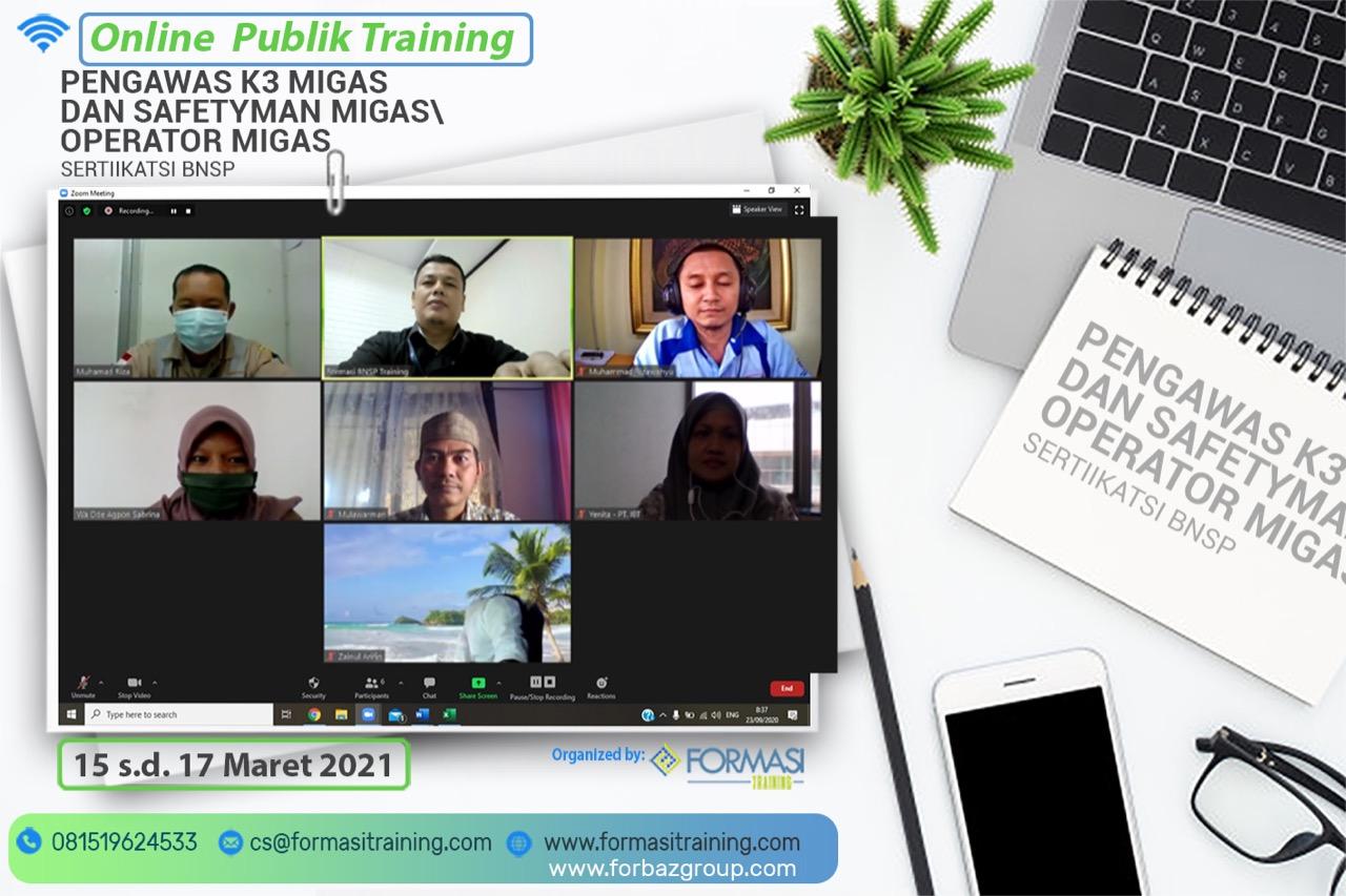 Online Public Training K3 Migas BNSP 15-17 Maret 2021